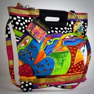 Laurel Burch Harlequin Birds Vintage Tote Handbag